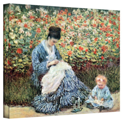 Brushstone Woman With Sunshade by Claude Monet Gallery Wrapped Canvas Wall Art