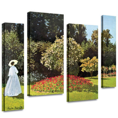 Brushstone Woman In Park With Poppies by Claude Monet 4-pc. Gallery Wrapped Canvas Wall Art