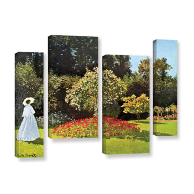Brushstone Woman In Park With Poppies by Claude Monet 4-pc. Gallery Wrapped Staggered Canvas Wall Art