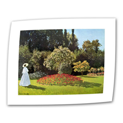 Brushstone Woman In Park With Poppies by Claude Monet Canvas Wall Art