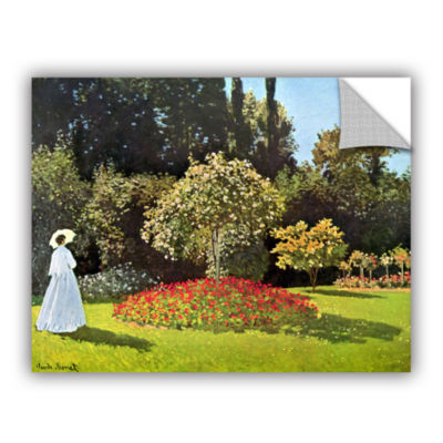 Brushstone Woman In Park With Poppies by Claude Monet Removable Wall Decal