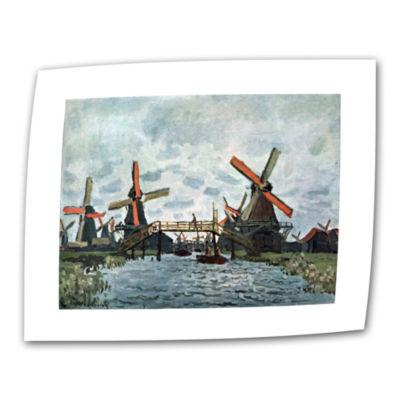 Brushstone Windmills by Claude Monet Canvas Wall Art