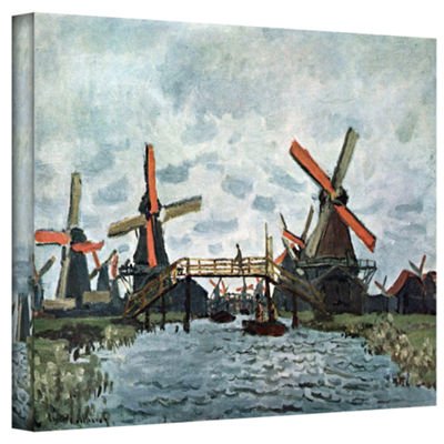 Brushstone Windmills by Claude Monet Gallery Wrapped Canvas Wall Art