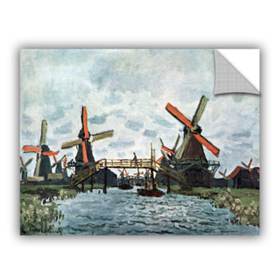 Brushstone Windmills by Claude Monet Removable Wall Decal
