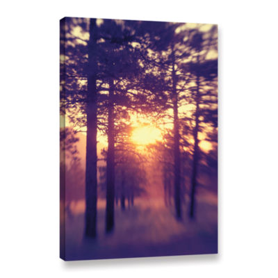 Brushstone Woodland Sunset Gallery Wrapped CanvasWall Art