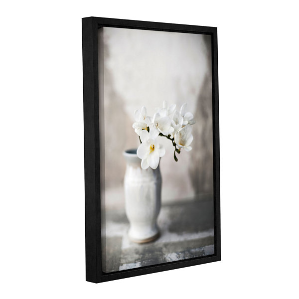 Brushstone White Orchid Gallery Wrapped Floater-Framed Canvas Wall Art