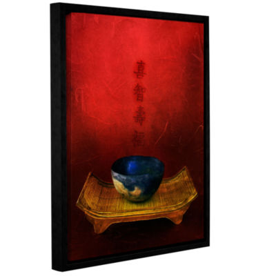 Brushstone Wisdom; Happiness; Longevity; Fortune Gallery Wrapped Floater-Framed Canvas Wall Art