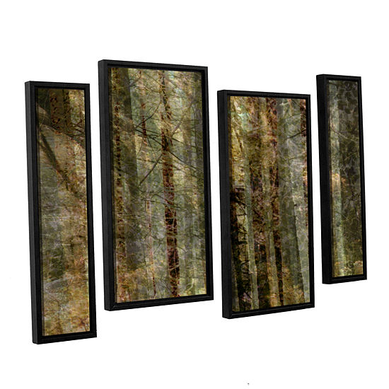 Brushstone Wood For The Trees 4 Pc Floater Framed Staggered Canvas Wall Art