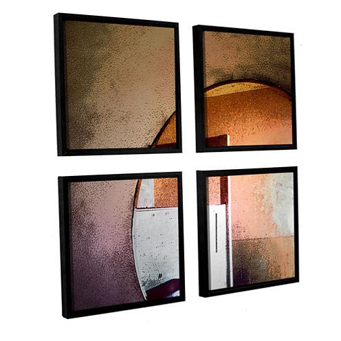Brushstone Western Progress By Dean Uhlinger 4-pc.Square Floater Framed Canvas Wall Art