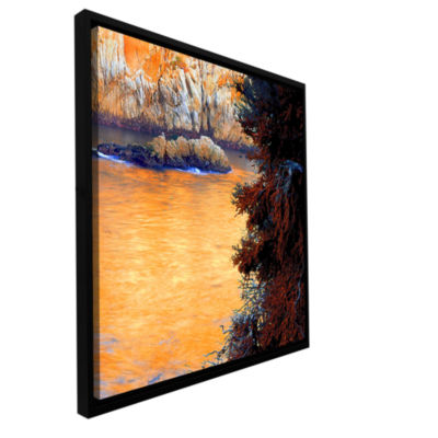 Brushstone Whalers Cove Sunset By Dean Uhlinger Gallery Wrapped Floater-Framed Canvas Wall Art