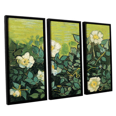Brushstone Wild Roses 3-pc. Floater Framed CanvasWall Art