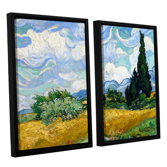 Brushstone Wheatfield With Cypresses 2-pc. FloaterFramed Canvas Wall Art