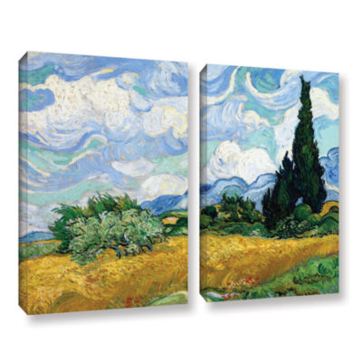 Brushstone Wheatfield With Cypresses 2-pc. GalleryWrapped Canvas Wall Art