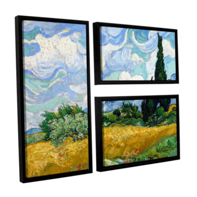 Brushstone Wheatfield With Cypresses 3-pc. Flag Floater Framed Canvas Wall Art