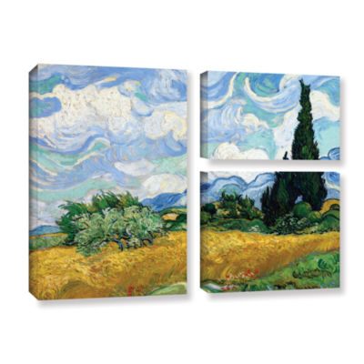 Brushstone Wheatfield With Cypresses 3-pc. Flag Gallery Wrapped Canvas Wall Art