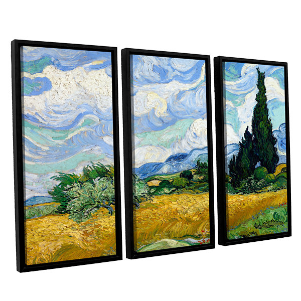 Brushstone Wheatfield With Cypresses 3-pc. FloaterFramed Canvas Wall Art