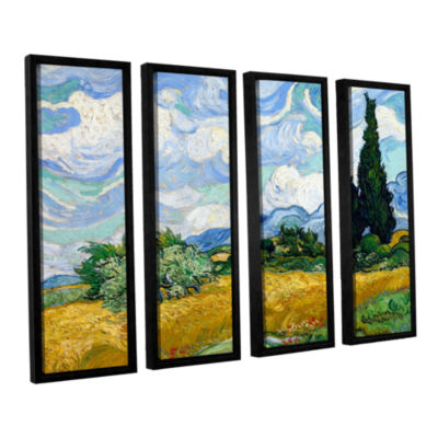 Brushstone Wheatfield With Cypresses 4-pc. FloaterFramed Canvas Wall Art