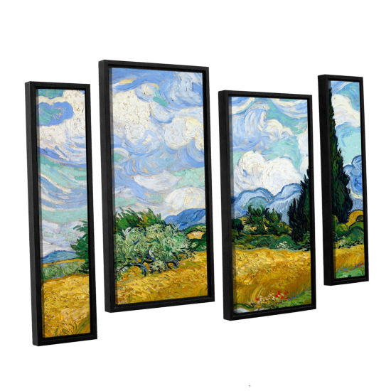 Brushstone Wheatfield With Cypresses 4-pc. FloaterFramed Staggered Canvas Wall Art