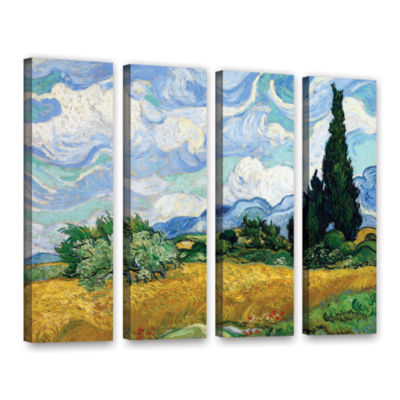 Brushstone Wheatfield With Cypresses 4-pc. GalleryWrapped Canvas Wall Art