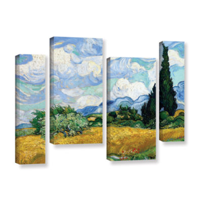Brushstone Wheatfield With Cypresses 4-pc. GalleryWrapped Staggered Canvas Wall Art