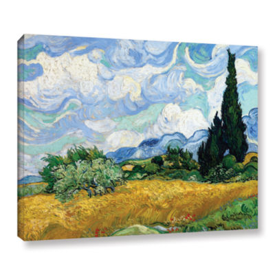 Brushstone Wheatfield With Cypresses Gallery Wrapped Canvas Wall Art
