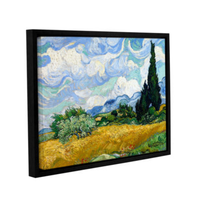 Brushstone Wheatfield With Cypresses Gallery Wrapped Floater-Framed Canvas Wall Art