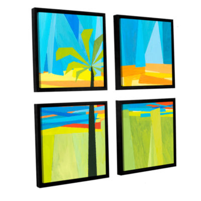 Brushstone Wonderful Palm 4-pc. Square Floater Framed Canvas Wall Art