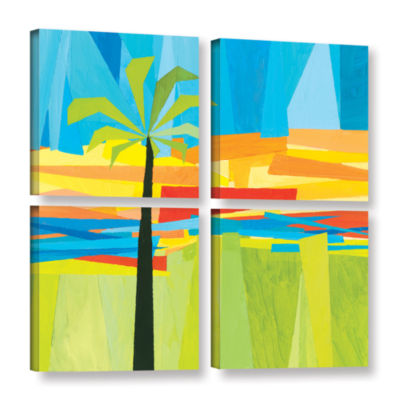 Brushstone Wonderful Palm 4-pc. Square Gallery Wrapped Canvas Wall Art