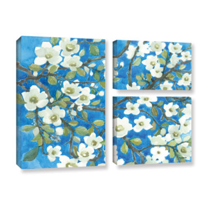 Brushstone White Blossoms By Norman Wyatt Jr. 3-pc. Flag Gallery Wrapped Canvas Wall Art