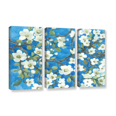 Brushstone White Blossoms By Norman Wyatt Jr. 3-pc. Gallery Wrapped Canvas Wall Art