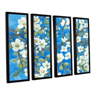 Brushstone White Blossoms By Norman Wyatt Jr. 4-pc. Floater Framed Canvas Wall Art