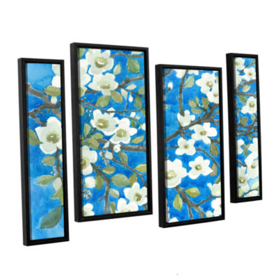 Brushstone White Blossoms By Norman Wyatt Jr. 4-pc. Floater Framed Staggered Canvas Wall Art