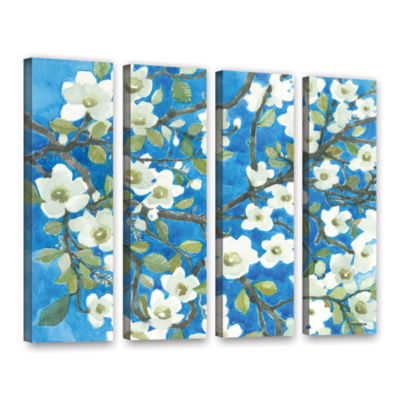 Brushstone White Blossoms By Norman Wyatt Jr. 4-pc. Gallery Wrapped Canvas Wall Art