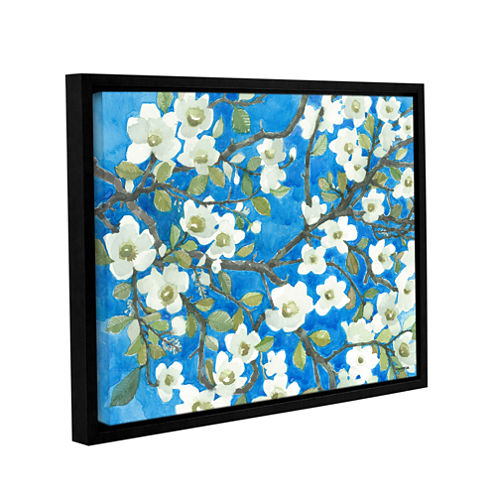 Brushstone White Blossoms By Norman Wyatt Jr. Gallery Wrapped Floater-Framed Canvas Wall Art