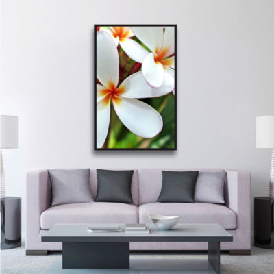 Brushstone White Plumeria Gallery Wrapped Floater-Framed Canvas Wall Art