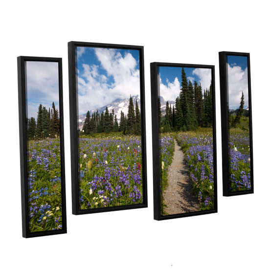 Brushstone Wild Flowers Path To Mt Rainier 4-pc. Floater Framed Staggered Canvas Wall Art
