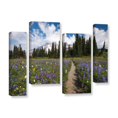 Brushstone Wild Flowers Path To Mt Rainier 4-pc. Gallery Wrapped Staggered Canvas Wall Art