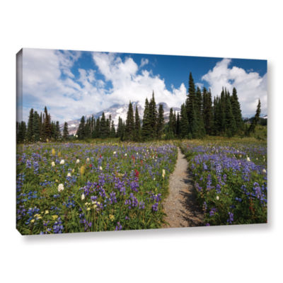 Brushstone Wild Flowers Path To Mt Rainier GalleryWrapped Canvas Wall Art