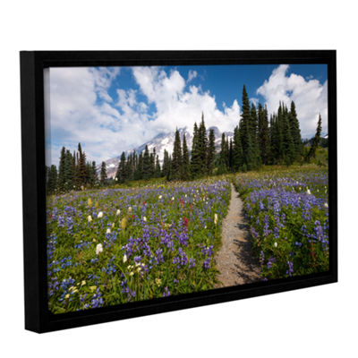 Brushstone Wild Flowers Path To Mt Rainier GalleryWrapped Floater-Framed Canvas Wall Art