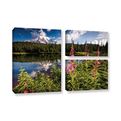 Brushstone Wild Flowers And Mt Rainier Horizontal3-pc. Flag Gallery Wrapped Canvas Wall Art