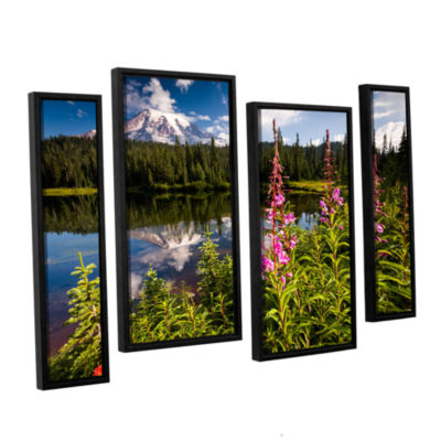 Brushstone Wild Flowers And Mt Rainier Horizontal4-pc. Floater Framed Staggered Canvas Wall Art