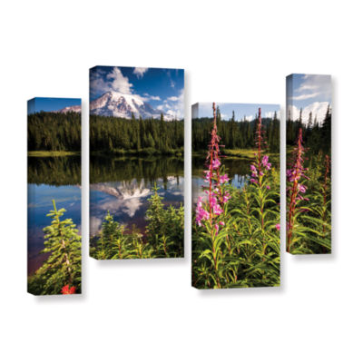 Brushstone Wild Flowers And Mt Rainier Horizontal4-pc. Gallery Wrapped Staggered Canvas Wall Art