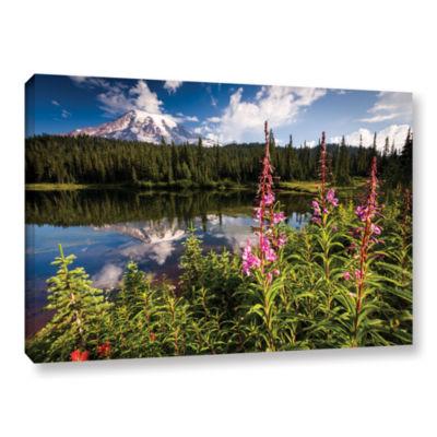 Brushstone Wild Flowers And Mt Rainier HorizontalGallery Wrapped Canvas Wall Art