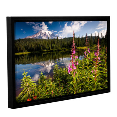 Brushstone Wild Flowers And Mt Rainier HorizontalGallery Wrapped Floater-Framed Canvas Wall Art