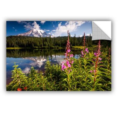 Brushstone Wild Flowers And Mt Rainier HorizontalRemovable Wall Decal