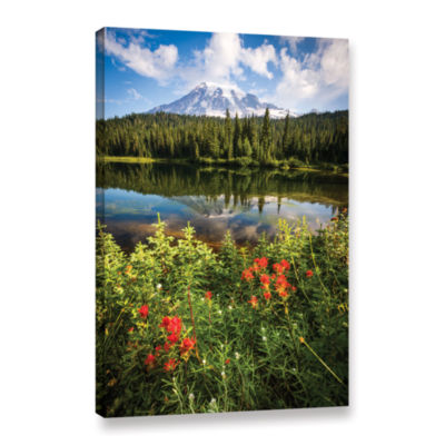 Brushstone Wild Flowers And Mt Rainier Gallery Wrapped Canvas Wall Art