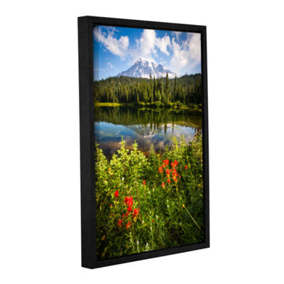 Brushstone Wild Flowers And Mt Rainier Gallery Wrapped Floater-Framed Canvas Wall Art