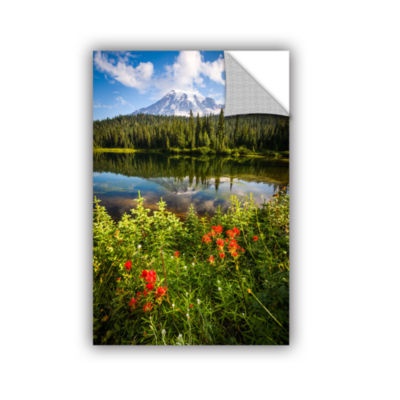 Brushstone Wild Flowers And Mt Rainier Removable Wall Decal