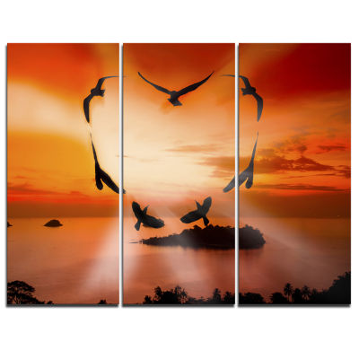 Designart Crow Heart At Sunset Abstract Print On Canvas - 3 Panels
