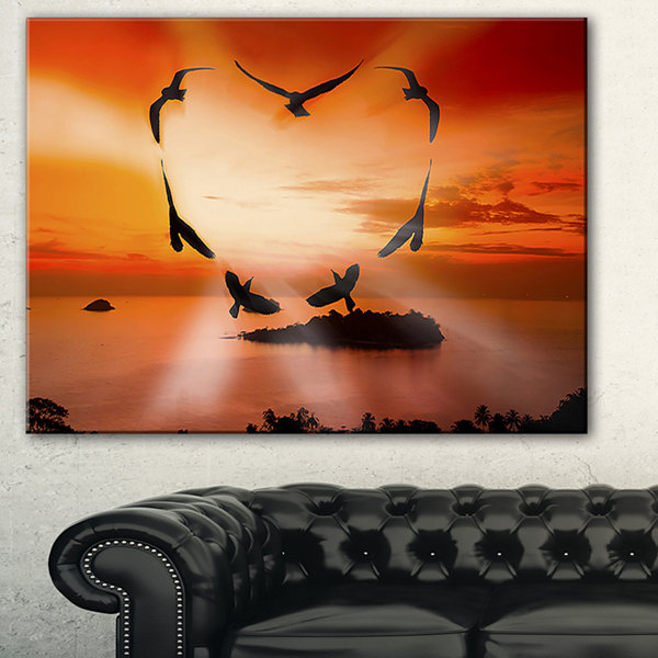 Designart Crow Heart At Sunset Abstract Print OnCanvas - 3 Panels